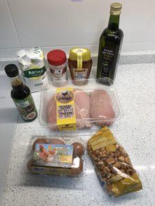 Ingredientes crujientes de pollo con soja y miel
