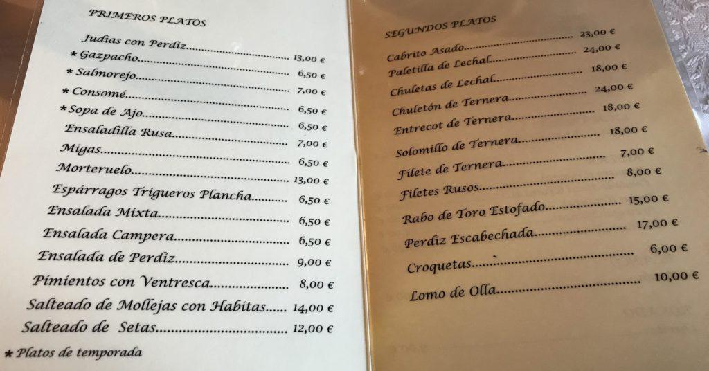 Carta Restaurante Moranchel
